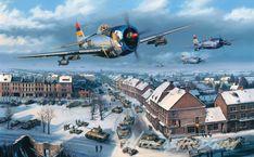 aviation art prints by aviaiton artist Nicolas Trudgian - Defenders of Bastogne Ww2 Aircraft, Military Aircraft, War Thunder, Aircraft Painting, Airplane Art, Ww2 Planes, Aircraft Pictures, Nose Art, Aviation Art