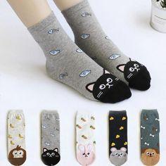 36dd7742e1e Newly Design Cute Cotton Jacquard Fruit Socks Women Lovely Animal Cat  Footprint Dog Sock Winter Female Crew Women Socks