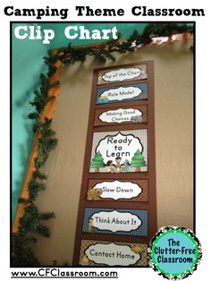 Photos, ideas & printable classroom decorations to help teachers plan & create an inviting camping themed classroom on a budget. Lots of free decor tips & pictures. Forest Classroom, New Classroom, Kindergarten Classroom, Classroom Activities, Classroom Decor Themes, Classroom Design, Classroom Organization, Classroom Ideas, Camp Theme Classroom