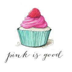 Fashion illustration print, Pink cupcake by Pinodesk on Etsy