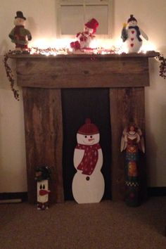 Barn board faux fireplace previous pinner made. Clever idea!!