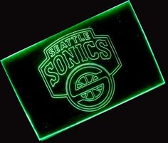 NBA Seattle Super Sonics Team Logo Neon Light Sign (Green) by scopewise co. $68.99. The color of the pictures shown here may vary from monitor to monitor. Metal chain is included for hanging or mounting on wall. Engrave image on hard transparent acrylic plastic plate with aluminum tube cover. Attractive when light off and eye-catching when light on. Brand new colored fluorescent 12inches x 9 inches (30cm x 22.5cm) light sign. * Brand new sign, never used * Overal...