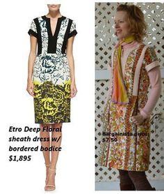 Etro Deep Floral Sheath dress: idea for contrast strips in ponte knit
