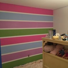 Curly Crafty Mom: How to Paint Rainbow Stripes Daughters Room, To My Daughter, Frozen Bedding, Striped Accent Walls, Tape Wall, Rainbow Wall, Playroom, Sydney, Kids Room