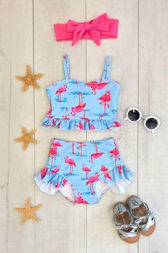 Flamingo High-Waisted Swimsuit Set - Sparkle In Pink Little Girl Outfits, Cute Outfits For Kids, Flamingo Suit, Pink Lace Tops, Ruffle Shorts, Cute Swimsuits, Cute Baby Clothes, Babies Clothes, Boutique Clothing
