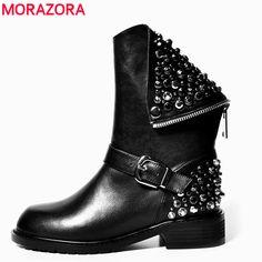 MORAZORA Высокое качество PU + натуральная кожа сапоги заклепки квадратных каблуки осень зима ботильоны сексуальная меховые снег boots обувь женщина купить на AliExpress