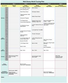 Free Disney World Touring Plan Spreadsheet - Wit & Wander