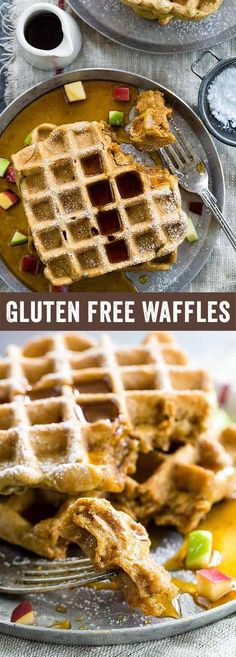 Gluten free waffles with apples and cinnamon make for an easy breakfast solution! Plus, they can be frozen and toasted later for an easy make-ahead meal. via @foodiegavin