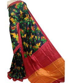 Black Handloom Pure Murshidabad Silk Saree