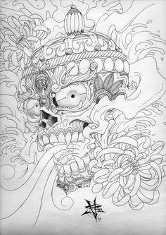 Superb Tibetan Skull With Water Splash Tattoo Drawing By TravTheMad Skull Tattoo Design, Tattoo Designs, Tibetan Tattoo, Skull Sketch, Skeleton Tattoos, Oriental Tattoo, Colouring Pics, Chest Piece, Back Tattoos