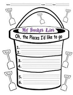 "Bucket list was designed to inspire the kids to visit places to go and visit based on beloved Dr. Seuss's book, ""Oh the places you'll go."" This activity can be used all year round, but it's especially appropriate in March since it's Dr. Seuss's birthday on March 2."