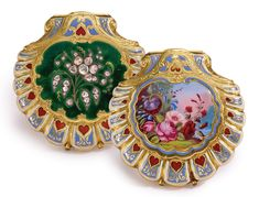 AN 18K YELLOW GOLD, ENAMEL AND DIAMOND-SET SCALLOP-FORM HUNTING CASED WATCH CIRCA 1850