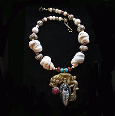 Brass Dragon w/ Faceted Pink Jade & Orthoceras by BijouxWalla