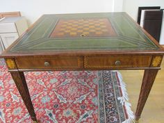 Great Maitland Smith 3131 024 Mahogany Game Table With Playing Pieces, Green  Leather #MaitlandSmith