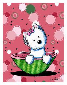 Watermelon Westie Girl art print by Kim Niles @ KiniArt.com