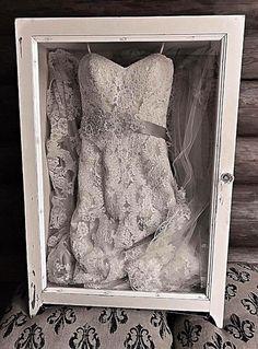 Wedding dress shadowbox with an antique window Hochzeitskleid Shadowbox mit einem antiken Fenster Wedding Dress Shadow Box, Wedding Dress Frame, Wedding Dress Display, Wedding Dress Storage, Antique Wedding Dresses, Wedding Frames, Wedding Sets, Wedding Dress Preservation, Wedding Keepsakes
