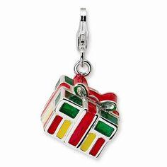 Multicolored Christmas Present 3-D Charm By Amore La Vita