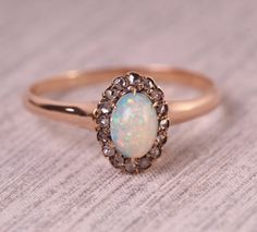 Circa 1880 - 14K Yellow Gold Opal Engagement Ring with Halo of Antique Rose Cuts - VEG#334