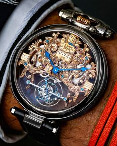 Vintage Watch Trying on the Bovet Amadéo Tourbillon squelette Aiguillage Inversé . What a piece of art! Amazing Watches, Beautiful Watches, Cool Watches, Rolex Watches, Audemars Piguet, Skeleton Watches, Expensive Watches, Elegant Watches, Casual Watches