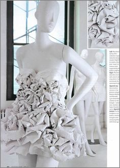 "A Marchesa inspired dress of roses, student designer unknown for the 2011 ""Pratt + Paper & Ralph Pucci"" competition. via John About Town"