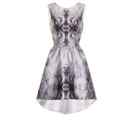 Chi Chi London Printed dip hem dress (90 CAD) ❤ liked on Polyvore featuring dresses, silver metallic, women, high low sleeveless dress, fit and flare print dress, scoop back dress, round neck sleeveless dress and hi low dress