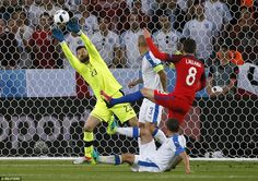 Adam Lallana's powerful drive is saved by Kozacik as England dominated with the ball before half-time