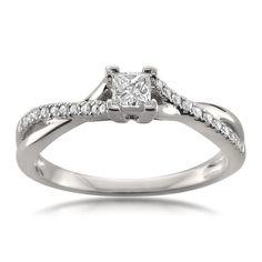 Montebello Jewelry 14k White Gold 1/4ct TDW Princess-cut Diamond Engagement Ring (H-I, I2-I3) (Size 9.5), Women's