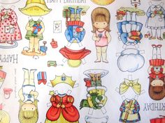 Vintage Wrapping Paper - Paper Doll Happy Birthday - One Sheet Joan Walsh Anglund Gift Wrap - 1975. $7.00, via Etsy.