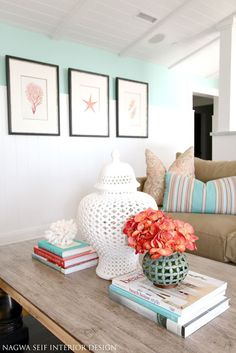 Trio of gallery frames with art prints –beautifully coordinated with the colorful accessories. (Picture this same room with Autumn botanicals and earthy colored objets d'art.)
