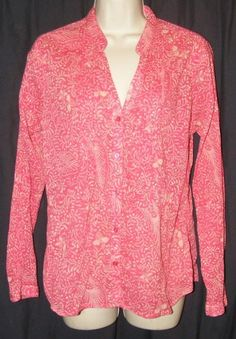 $15.99   Eddie Bauer Dark Pink Semi Sheer 100% Cotton Long Sleeve Button Front Top M