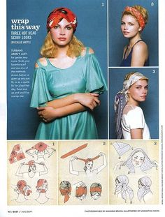"""""""Wrap This Way: Three hot head scarf looks,"""" by Callie Watts, photos by Amanda _?_, illustrated by Samantha Hahn for """"Bust"""" Magazine Aug/Sept 2010. Featured on  """"The Space In-Between"""" blog."""