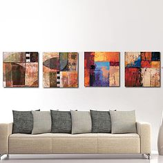 Stretched Canvas Print Art Abstract Board of Colors Set of 4 – USD $ 69.99