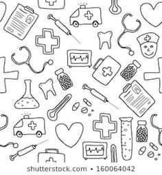 Imagens, fotos stock e vetores similares de Health care and medicine elements set in cartoon style. Nurse Drawing, Nurse Aesthetic, Medical Wallpaper, Sketch Note, Medical Background, Stress And Depression, Doodles, Losing A Loved One, Nursing Students