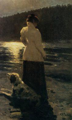 """Moonlight Night"" • Ilya Repin, 1896 {oil painting}"