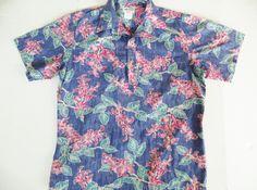 Cooke Street Hawaiian Shirt, Vintage Hawaiian Shirt, Reverse Print Cotton, Inside Out Print, Honolulu, Blue Floral Retro Aloha Shirt, Large by TomCatBazaar on Etsy