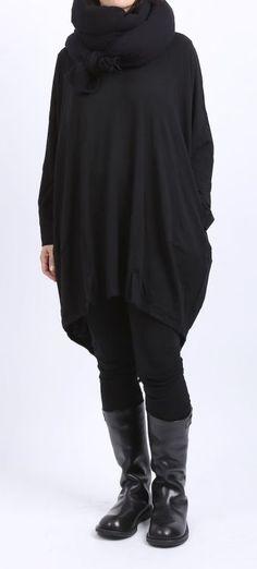 rundholz - Tunika Wolljersey Frack Optik black - Winter 2016 - stilecht - mode für frauen mit format...
