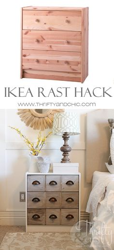 Ikea Rast Dresser Hack -turned into a cute apothecary cabinet nighstand