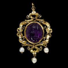 This pendant has several alterations.The pearl drops are replacements and the enamelled plate at the back was removed and reinstated upside down at some stage. The cameo is likely to have been made in the Renaissance and the setting around 1550 to 1560, perhaps in England. The jewel belonged to the Gatacre family of Shropshire. It was known as the 'Fair Maid of Gatacre' after Mary (born 1509), daughter of Sir Robert Gatacre. According to family tradition, she was 'a great beauty both in face…