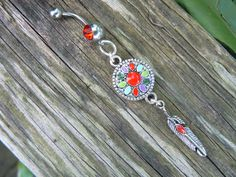 enameled dreamcatcher belly ring  RED in native by gildedingypsy, $17.50