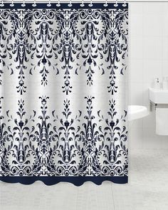 Update to your bathroom, Elegant Touch Shower Curtain is perfect for your bath. The background is a fresh colors to update your space while the classic fretwork design geometric pattern. Silver Shower Curtain, Bohemian Shower Curtain, Blue Shower Curtains, Cream Bathroom, Bathroom Sets, Bathroom Vanities, Bathrooms, Bath And Beyond, Shower Rod