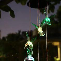 Solar Led, Solar Lights, Fairy Lights, Dream Garden, Garden Art, Solar Wind Chimes, Stained Glass Table Lamps, Night Garden, Handmade Lamps