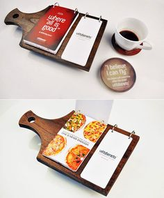 This would fit perfectly for this place its coffee and pizza with the pizza menu on one side and then the drink/coffee menu on the back of it flipped!