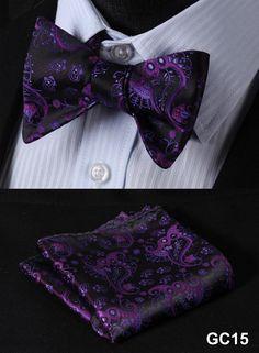 GC15 PURPLE Floral 100% Silk Butterfly Tie Self Tie Bow Tie Pocket Square Bow tie Set