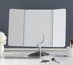 bath | Pottery Barn Lighting System, Shop Lighting, Cloud Craft, Cabin Bathrooms, How To Clean Mirrors, Wall Candle Holders, Room Planner, Medicine Cabinet Mirror, Beveled Mirror