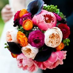 pink peonies, purple calla lilies, fuchsia and orange rununculus and blush english rose bouquet.minus the calla lilies Floral Wedding, Wedding Colors, Wedding Bouquets, Wedding Flowers, Trendy Wedding, Wedding Ideas, Purple Wedding, Wedding Blog, Wedding Reception
