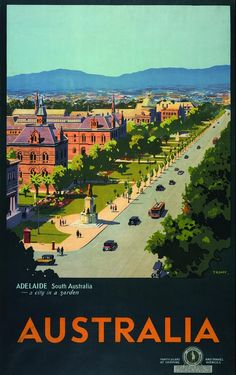 Adelaide, North Terrace, South Australia 1932 poster