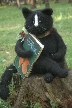 cat reading a book- remarkable woolen animals by Fadeeva.com