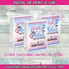 Custom Gift Bags, Customized Gifts, Pink Party Favors, Gender Reveal Gifts, Brochure Paper, Chip Bags, Craft Bags, Printing Labels, Reveal Parties