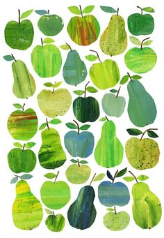 Green shades apples pattern and print