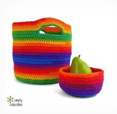 Everyday One Skein Bowl & Basket crochet pattern set by Celina Lane, SimplyCollectibleCrochet.com